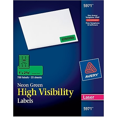 Avery® 5971 Neon Laser Address Labels, 1 X 2-5/8
