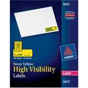 "Avery® 1"" x 2-5/8"" Laser Address Labels, Neon Yellow, 750/Box (5972)"