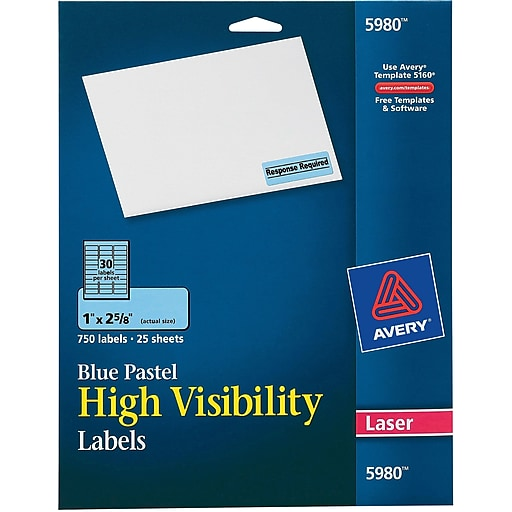 avery 5980 neon laser address labels 1 x 2 5 8 pastel blue 750