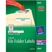 Avery 5866 Green Permanent File Folder Labels with TrueBlock™, 1,500 Per Pack by