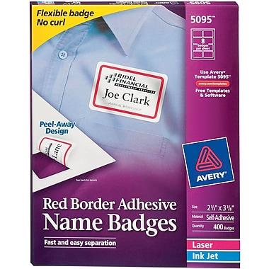 Avery® Self-Adhesive Name Tag Labels, 2 1/3