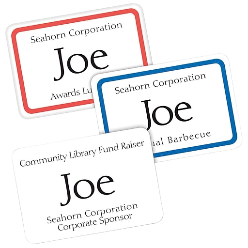 Avery Self Adhesive Name Tag Labels 2 13 X 3 38 White With
