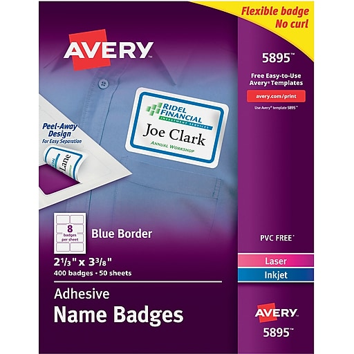 avery self adhesive name tag labels 2 1 3 x 3 3 8 white with