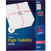 "Avery High-Visibility Round Laser Labels, 24 Labels Per Sheet, White, 1 2/3"" Diameter, 600 Labels/Pk"