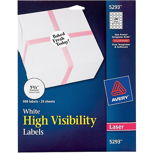 avery white high visibility labels for laser printers 5293 1 2 3