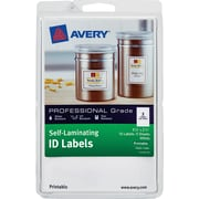 """Avery Self-Laminating ID Labels 00761, Printable, 3 1/4"""" x 2 1/4"""", White, Pack of 10"""