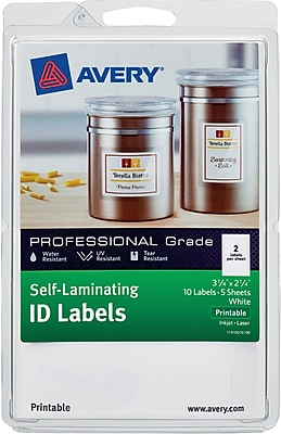 Avery Self-Laminating ID Labels 00761, Printable, 3 1/4