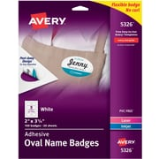 """Avery(R) White Adhesive Name Tags 5326, Oval, 2"""" x 3-1/3"""", Pack of 160"""