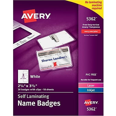 Avery® Self-Laminating Name Tags with Clips, 2