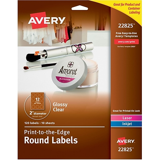 Avery Easy Peel Print To The Edge Glossy Clear Round Labels 2