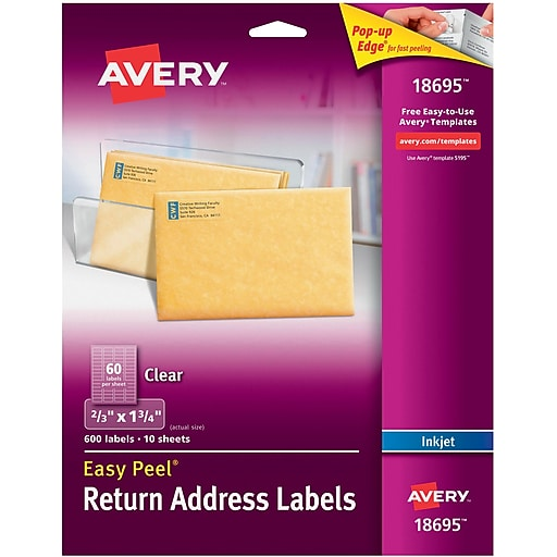 avery 18695 clear inkjet return address labels with easy peel 2 3