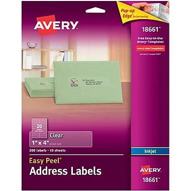 Avery® 18661 Clear Inkjet Address Labels with Easy Peel®, 1