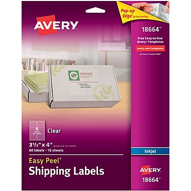 Avery® 18664 Clear Inkjet Shipping Labels with Easy Peel®, 3-1/3
