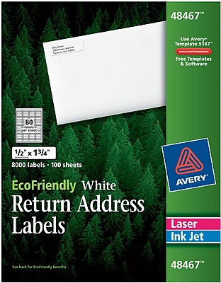 Avery® 48467 EcoFriendly White Inkjet/Laser Return Address Labels 1/2