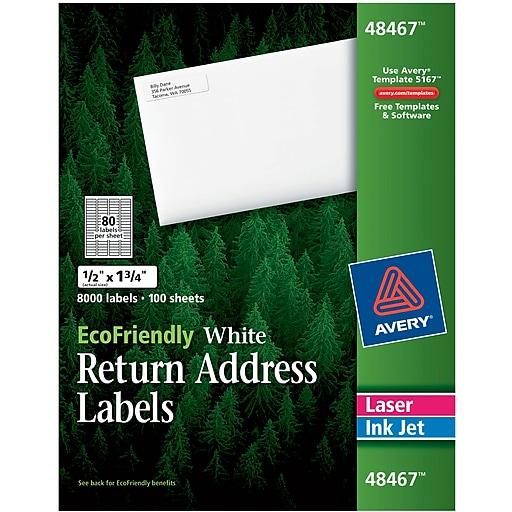 Avery EcoFriendly White InkjetLaser Return Address Labels - Staples return address labels template