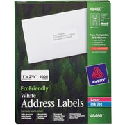 "Avery® 48460 EcoFriendly White Inkjet/Laser Address Labels, 1"" x 2-5/8"", 3,000/Box"