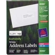 """Avery® 48460 EcoFriendly White Inkjet/Laser Address Labels, 1"""" x 2-5/8"""", 3,000/Box"""