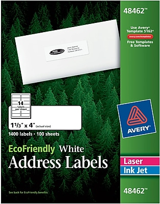 Avery® 48462 EcoFriendly White Inkjet/Laser Address Labels, 1-1/3