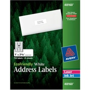 "Avery® 48160 EcoFriendly White Inkjet/Laser Address Labels 1"" x 2-5/8"", 750/Box"