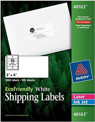 Avery® 48163 EcoFriendly White Inkjet/Laser Shipping Labels, 2