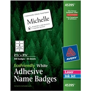 "Avery® EcoFriendly White Multipurpose Name Tag Labels, 2 1/3"" x 3 3/8"", 400/Pack"