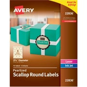 "Avery Print-to-the-Edge Pearlized Scallop Round Labels, 2-1/2"" Diameter, Pack of 72 (22836)"