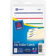 Removable Filing Labels for Inkjet/Laser, 2/3 x 3-7/16, Assorted, 252/Pack