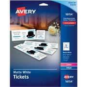 "Avery(R) Tickets with Tear-Away Stubs 16154, Matte White, 1-3/4"" x 5-1/2"", Pack of 200"