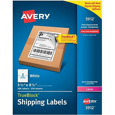 Avery(R) White Shipping Labels with TrueBlock(R) Technology 5912, 5-1/2
