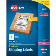 Avery(R) White Shipping Labels with TrueBlock(R) Technology 5912, 5 1/2 inch x 8 1/2 inch , Pack of 500 by