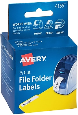 "Avery(R) File Folder Labels for Dymo(R), Seiko(R) and Zebra Printers 4155, 9/16"" x 3-7/16"", Two Rolls of 130"