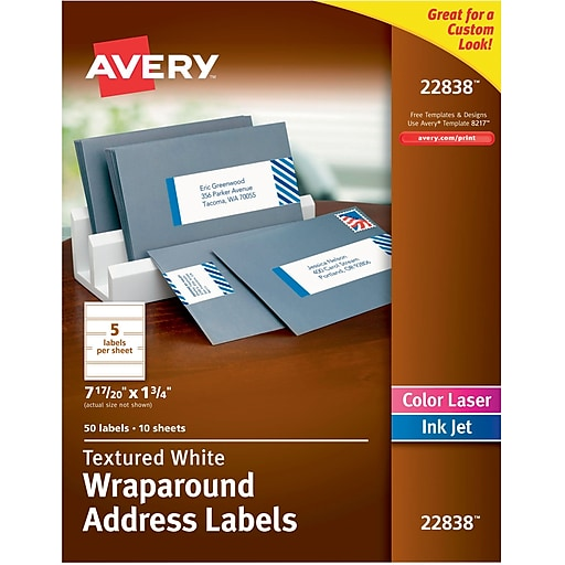 Avery White Textured Wraparound Address Labels 7 17 20 X 1