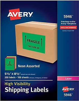 Avery(R) High-Visibility Shipping Labels 05946, Neon Assorted, 5-1/2