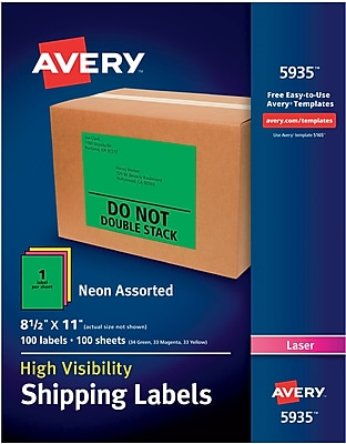 Avery(R) High-Visibility Shipping Labels 05935, Neon Assorted, 8-1/2