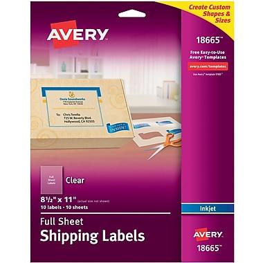 Avery® 18665 Clear Inkjet Full Sheet Shipping Labels, 8-1/2