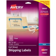 "Avery® 18665 Clear Inkjet Full Sheet Shipping Labels, 8-1/2"" X 11"", 10/Box"