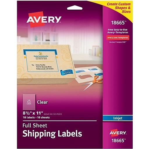 avery 18665 clear inkjet full sheet shipping labels 8 1 2 x 11