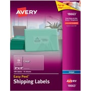Avery 18663 Clear Inkjet Shipping Labels with Easy Peel, 2 inch X 4 inch , 100/Box by