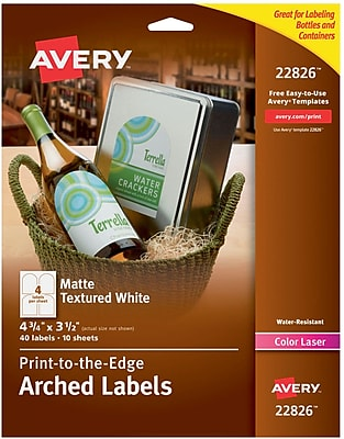 Avery Print-to-the-Edge Water-Resistant Textured Matte White Arched Labels, 3-1/2