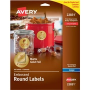 "Avery Easy Peel Embossed Matte Gold Foil Round Labels, 2"" Diameter, Pack of 96 (22831)"