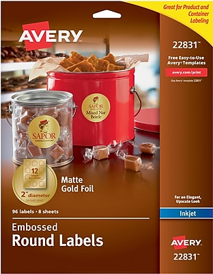 Avery Easy Peel Embossed Matte Gold Foil Round Labels, 2