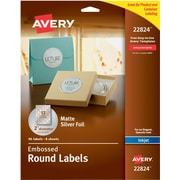 """Avery® Embossed Round Labels 22824, Matte Silver Foil, 2"""" Diameter, Pack of 96"""