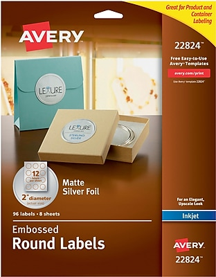 Avery® Embossed Round Labels 22824, Matte Silver Foil, 2