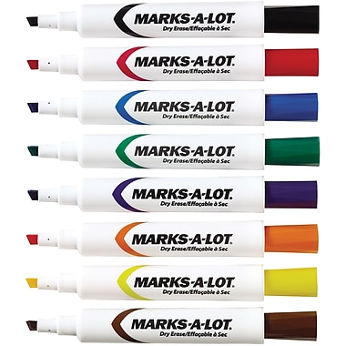 Avery Marks-A-Lot Chisel Point Dry-Erase Marker, Assorted, 8/Pack