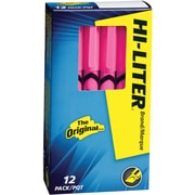 HI-LITER  Pen Style Highlighter, Chisel Tip, Fluorescent Pink, Dozen