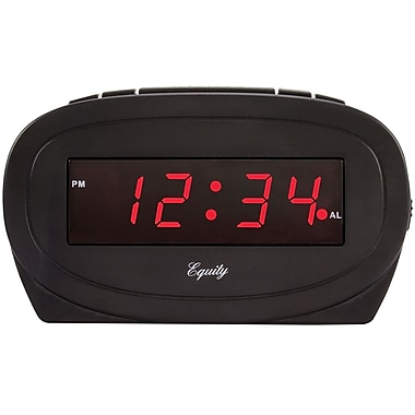 Equity by La Crosse 0.6 Inch Red LED Alarm Clock, Black (30228)