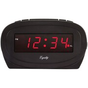 "Equity by La Crosse 30228 Red 0.6"" LED Alarm Clock, Black"