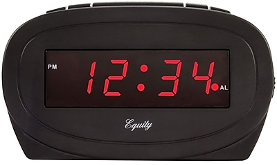 Equity by La Crosse 0.6 Inch Red LED Alarm Clock, Black (30228)