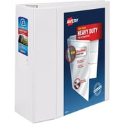 "Avery Heavy-Duty View Binder, 5"" One Touch Rings, 1,050 Sheet Capacity, DuraHinge, White (79106)"