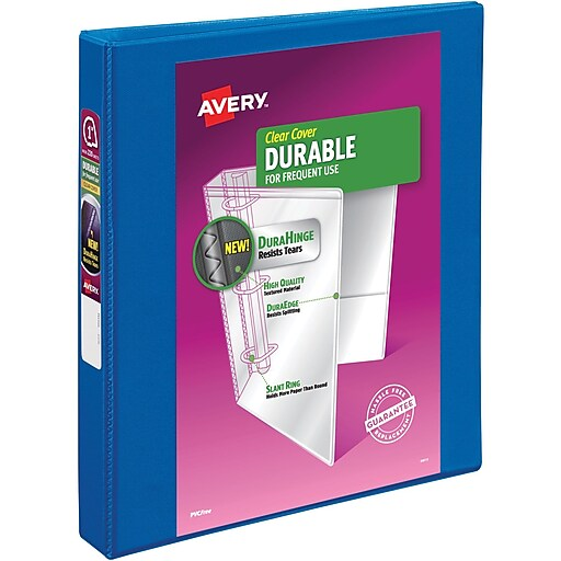 avery durable 1 inch 3 ring view binder navy blue 17014 staples